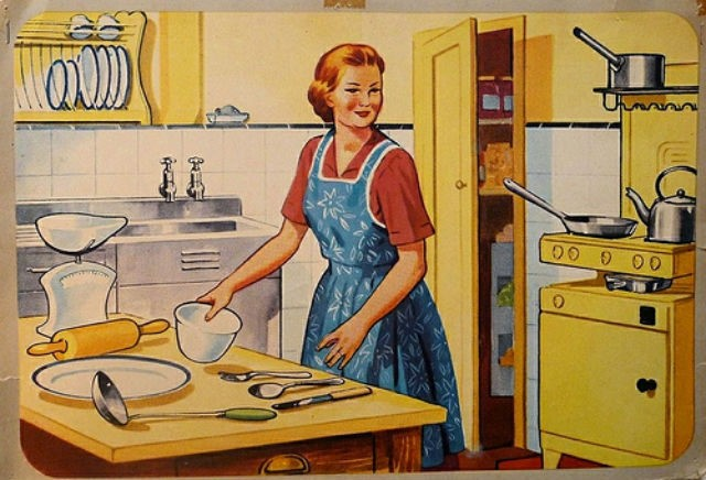 modern kitchen, old-fashioned style